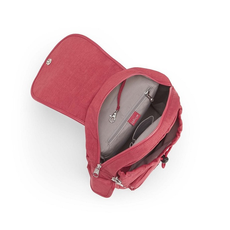mochila-de-passeio-kipling-city-pack-s-vermelha-detalhe-aberta