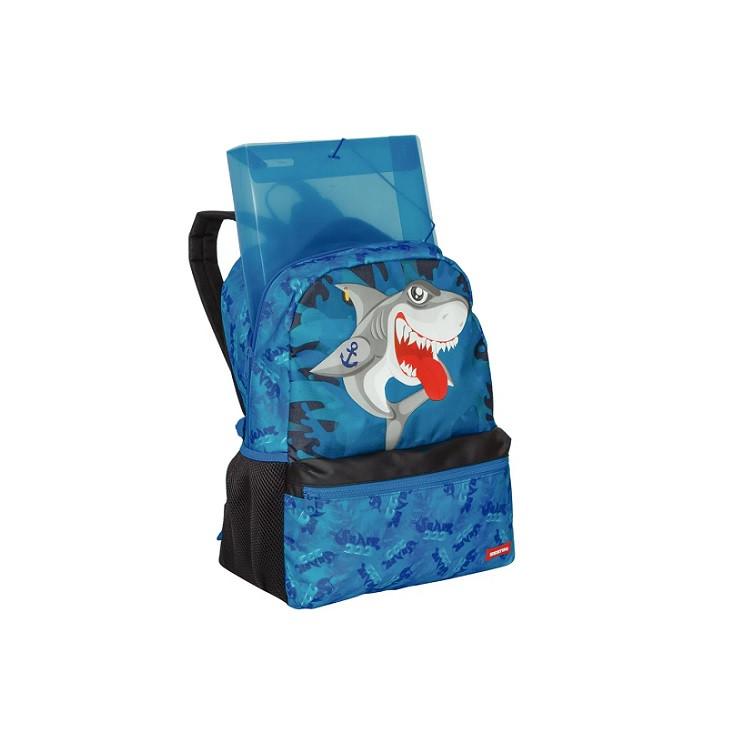 mochila-sestini-tubarão-azul-aberta
