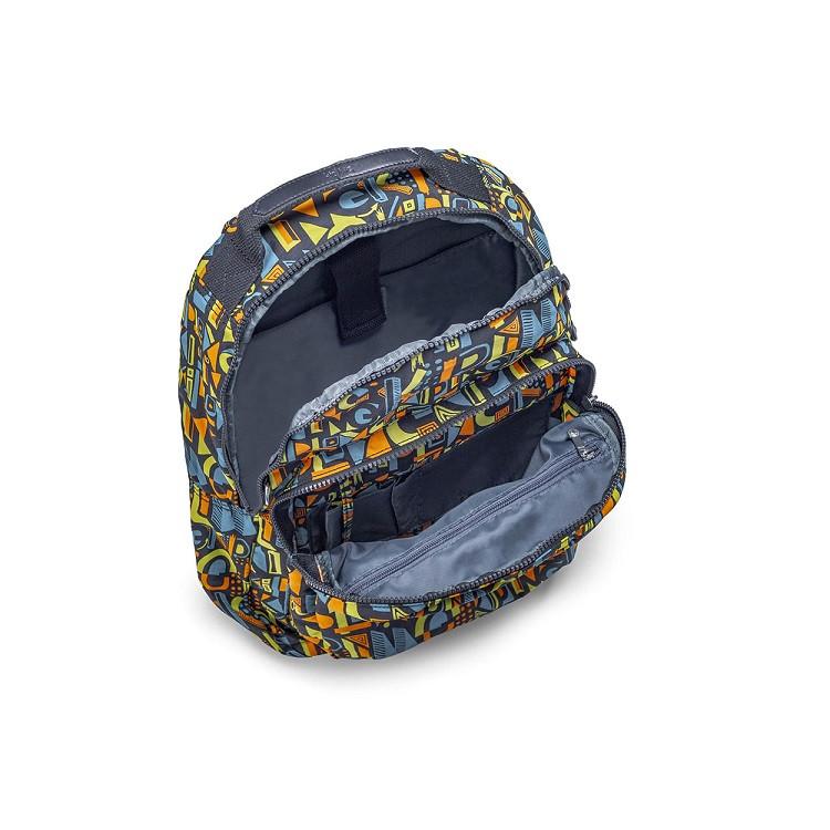 mochila-kipling-gouldi-cinza-escuro-compartimentos