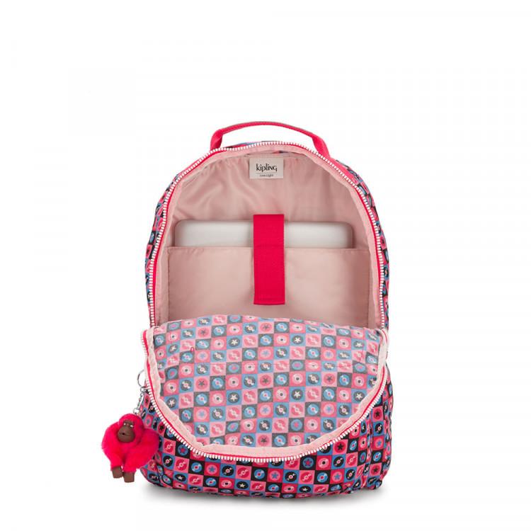 mochila-kipling-gouldi-rosa-compartimentos