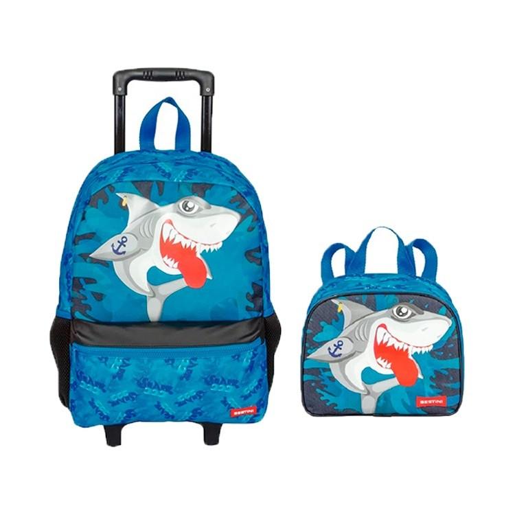 mochila-sestini-tubarão-com-rodas-lancheira-sestini-tubarão-azul