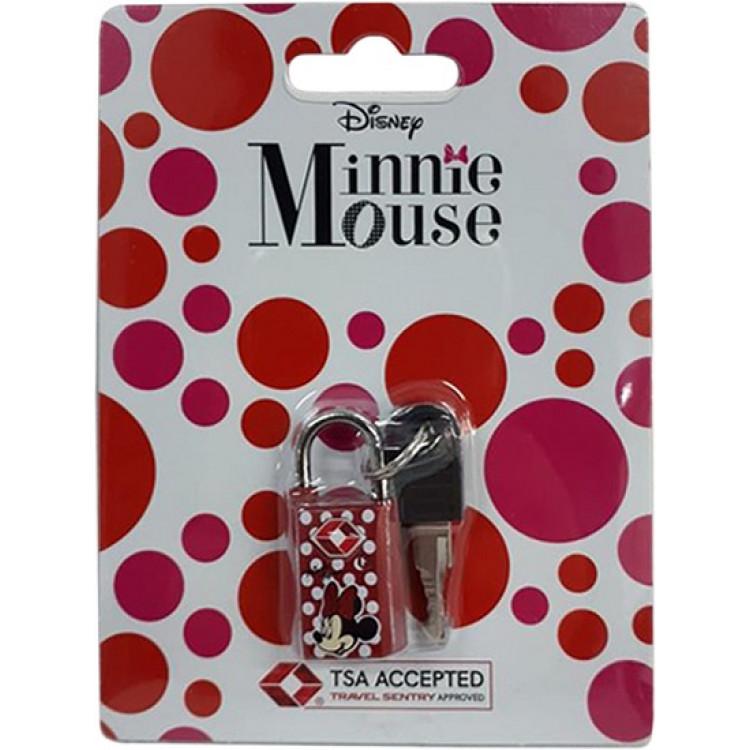 cadeado-disney-minnie-mouse-TSA-com-chave-vermelha-detalhe-cadeado