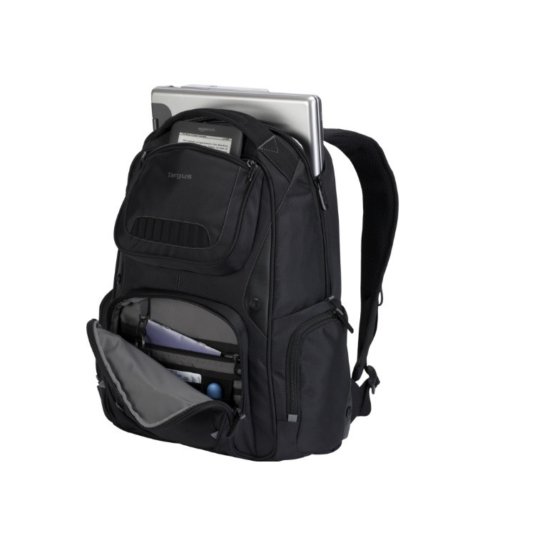 mochila-targus-para-notebook-legend-IQ-preta-detalhe-compartimento-notebook-e-bolso-frontal