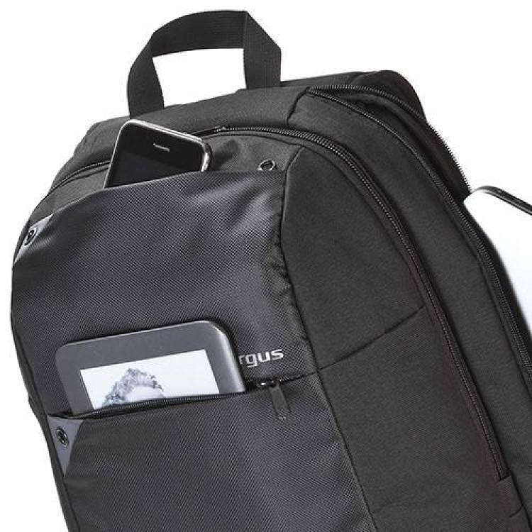 mochila-targus-ultralight-para-notebook-preta-detalhe-compartimento-frontal-para-eletrônicos