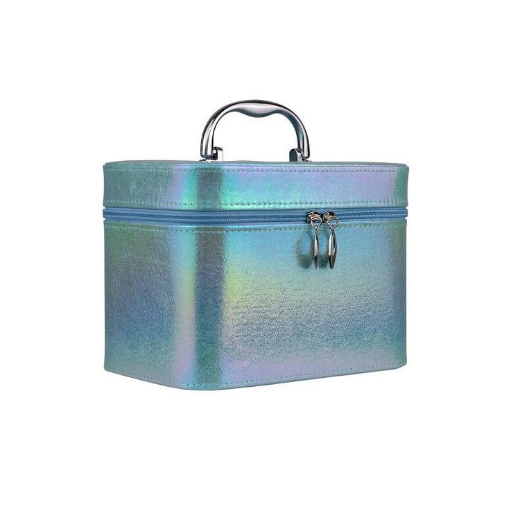 maleta-de-maquiagem-holográfica-azul-lateral