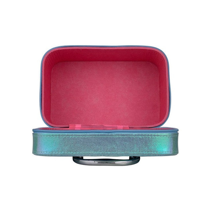maleta-de-maquiagm-holográfica-azul-aberta