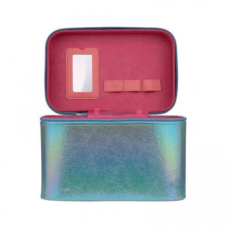 maleta-de-maquiagm-holográfica-azul-divisórias-e-espelho