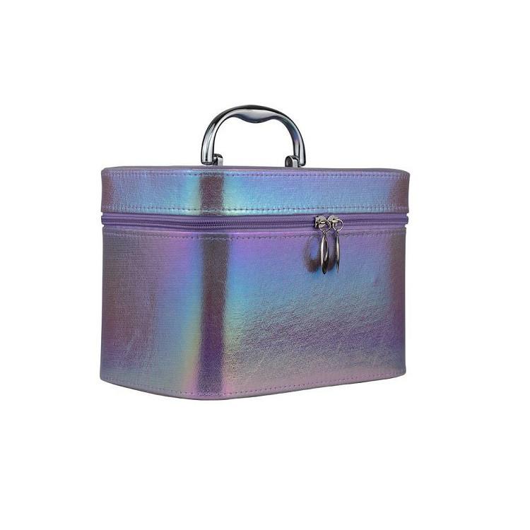 maleta-de-maquiagem-holográfica-roxa-lateral