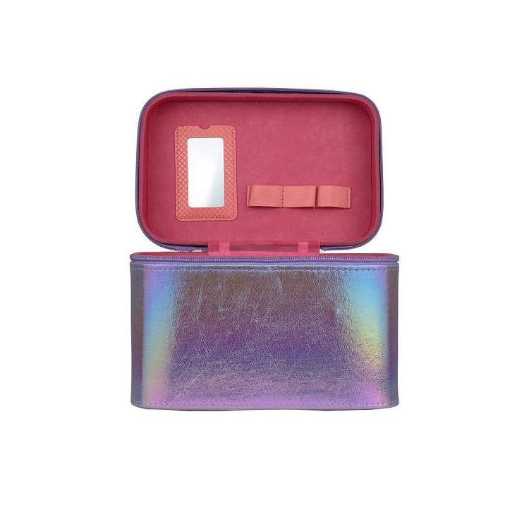 maleta-de-maquiagem-holográfica-roxa-compartimentos