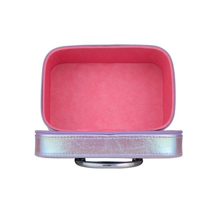 maleta-de-maquiagm-holográfica-roxa-aberta