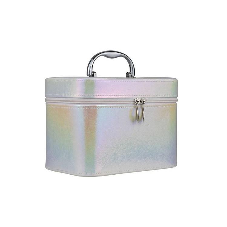 maleta-de-maquiagem-holográfica-branca-lateral