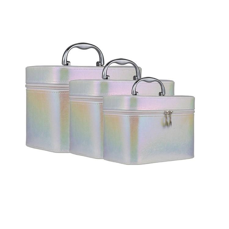 kit-de-maletas-de-maquiagem-holográfica-branca