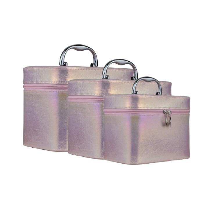 kit-de-maletas-de-maquiagem-holográfica-rosa