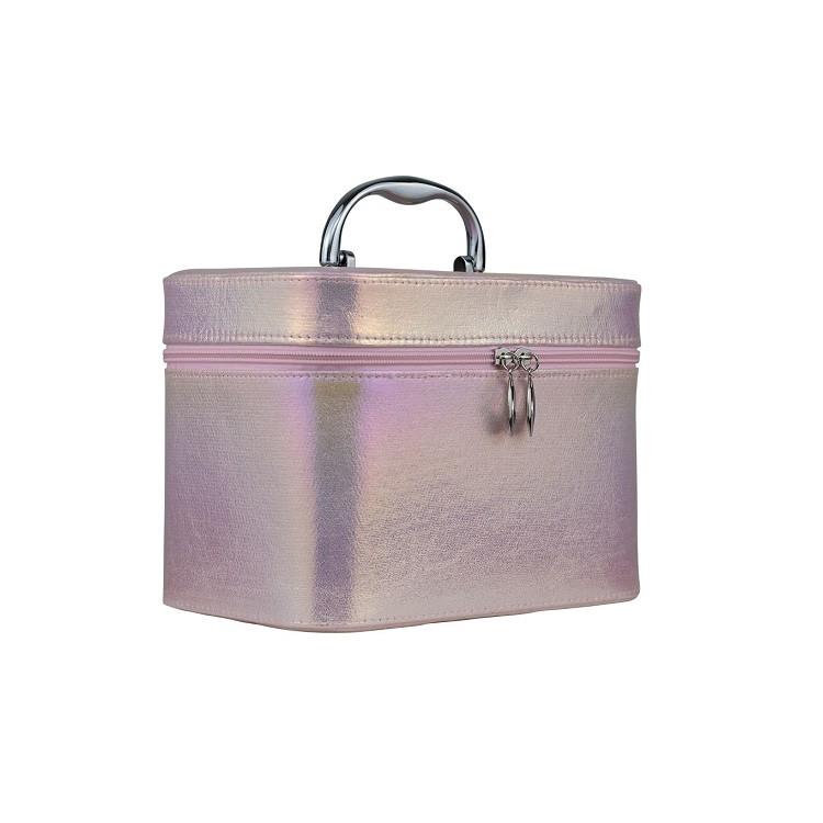 maleta-de-maquiagem-holográfica-rosa-lateral