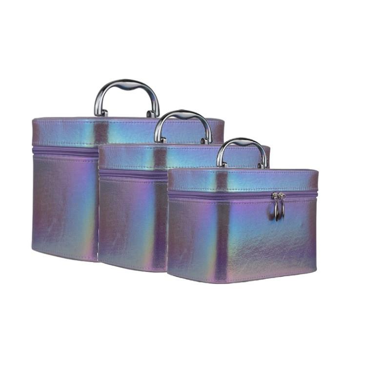 kit-de-maletas-de-maquiagem-holográfica-roxa